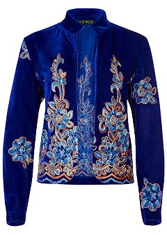 plus size embroidered velvet jacket