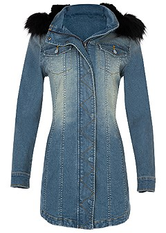 plus size faux fur detail jean jacket