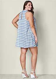 Back View Choker Neck Stripe Dress
