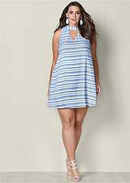 Alternate View Choker Neck Stripe Dress