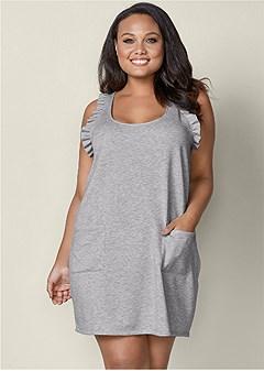 plus size ruffle detail lounge dress