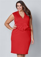plus size bow detail bodycon dress