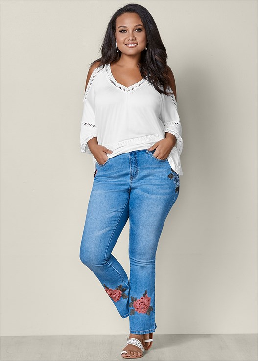 EMBROIDERED JEANS,COLD SHOULDER LACE TRIM TOP