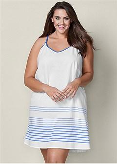 plus size stripe sleep dress