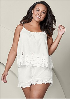 plus size eyelet sleep set