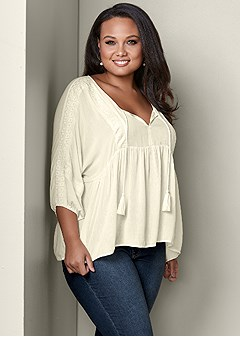 plus size embroidered peasant blouse