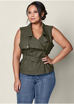plus size zip front belted top