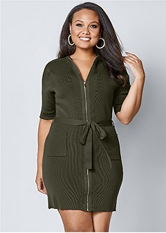 plus size zipper detail sweater dress