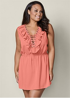plus size ruffle lace up mini dress