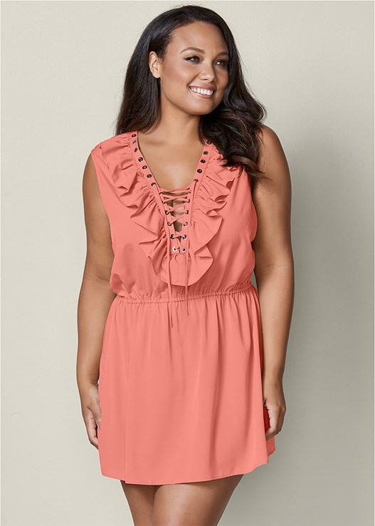 Plus Size Ruffle Lace Up Mini Dress Venus