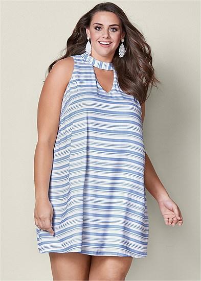 Plus Size Choker Neck Stripe Dress