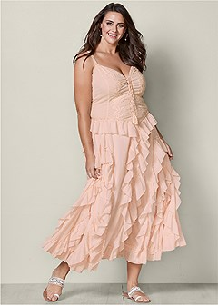 plus size lace up ruffle maxi dress