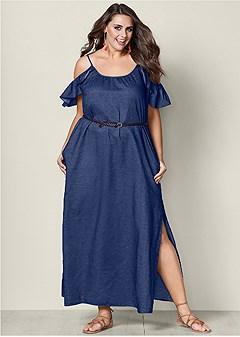 plus size chambray maxi dress