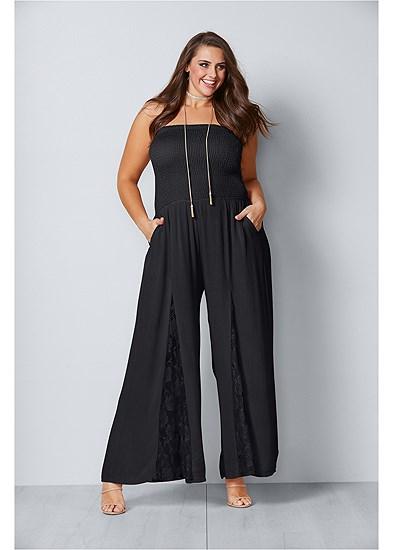 Plus Size Lace Inset Smocked Jumpsuit