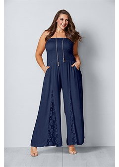plus size sleeveless smocked jumpsuit with lace detail
