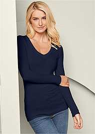 Front View Ribbed V-Neck Top