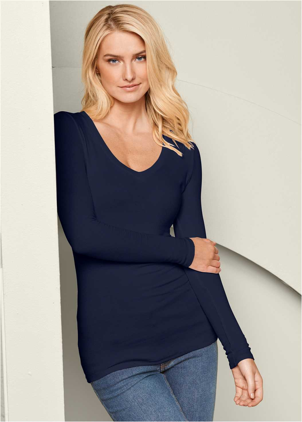 Ribbed V-Neck Top,Casual Bootcut Jeans,Beaded Drop Earrings,Stud Detail Scarf