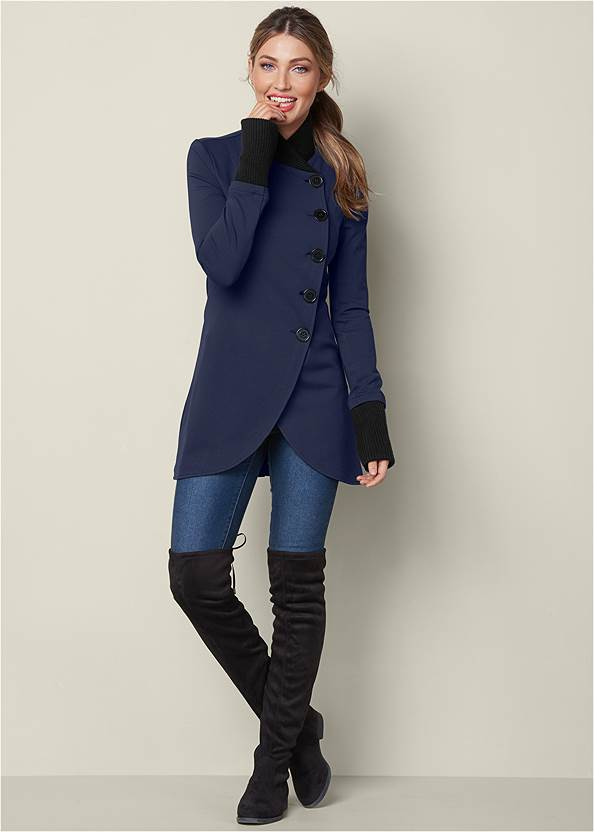 Knit Asymmetrical Button Front Jacket,Mid Rise Color Skinny Jeans,Over The Knee Stretch Boots