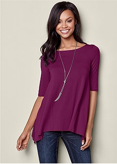 boat neck a-line top