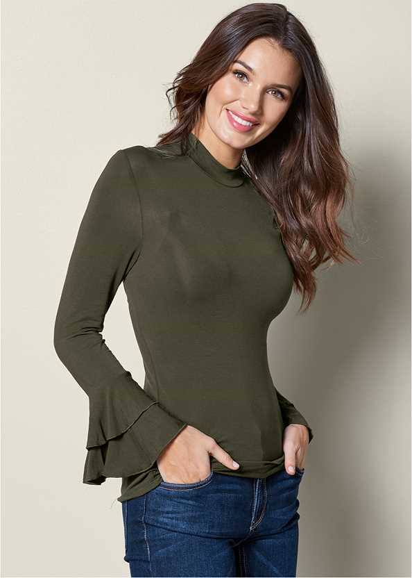 Ruffle Sleeve Mock Neck Top,Mid Rise Color Skinny Jeans,Lace Up Detail Boots,Naked T-Shirt Bra