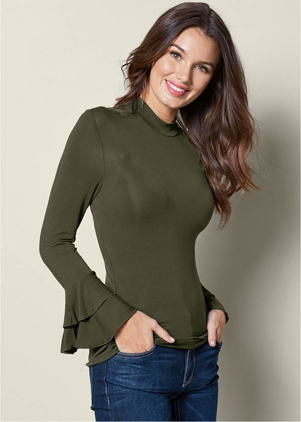 Ruffle Sleeve Mock Neck Top,Mid Rise Color Skinny Jeans,Lace Up Detail Boots