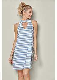 Front View Choker Neck Stripe Dress