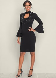Front View Pearl Detail Bodycon Dress