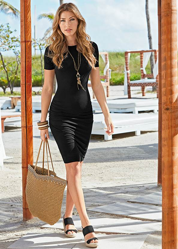 Basic High Neck Dress,Faux Leather Lace Up Jacket,Jean Jacket,Sleeveless Ruched Bodycon Midi Dress,Ruched Tank Maxi Dress,Peep Toe Booties,High Heel Strappy Sandals,Whipstitch Peep Toe Booties,Pearl Multi Chain Necklace,Raffia Bling Hoop Earrings,Beaded Hoop Earrings