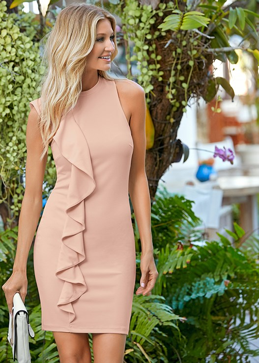 RUFFLE DETAIL MINI DRESS,HIGH HEEL STRAPPY SANDALS,CIRCLE DETAIL CROSSBODY