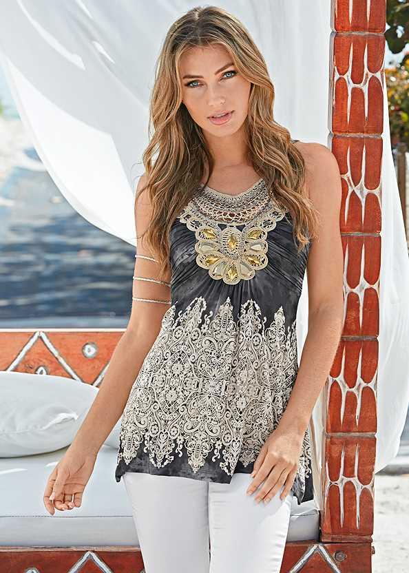 Embellished Print Top,Mid Rise Color Skinny Jeans,Embellished Wedges