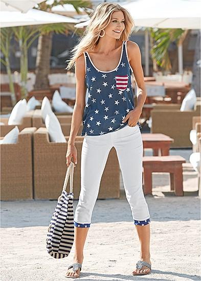 Star Cuff Capri Jeans