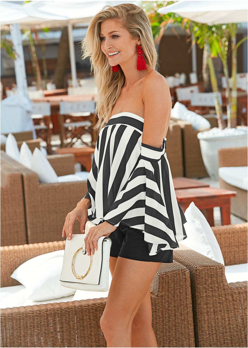 Stripe Bell Sleeve Top,Mid Rise Slimming Stretch Jeggings,Solid Shorts,High Heel Strappy Sandals