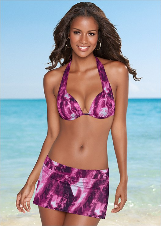 a98a93ba8f Magenta Marble SKIRTED SWIM BIKINI BOTTOM | Venus