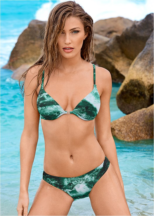 SCOOP FRONT BIKINI BOTTOM,ENHANCER PUSH UP BRA