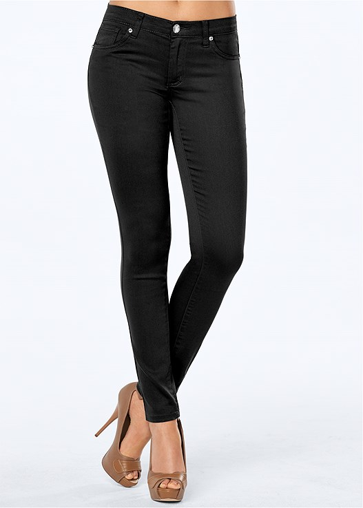 COLOR SKINNY JEANS,LACE OFF THE SHOULDER TOP,VELVET BUCKLE HEEL