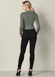 Back View Wrap Metallic Sweater