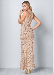 Back View Sequin Detail Long Dress