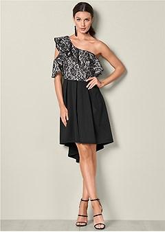lace ruffle detail dress