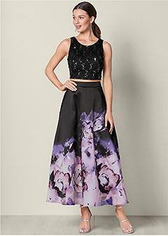 two piece print dress
