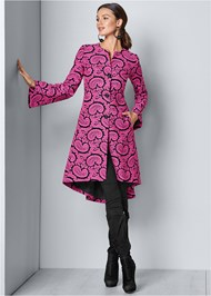 Front View Paisley Print Coat