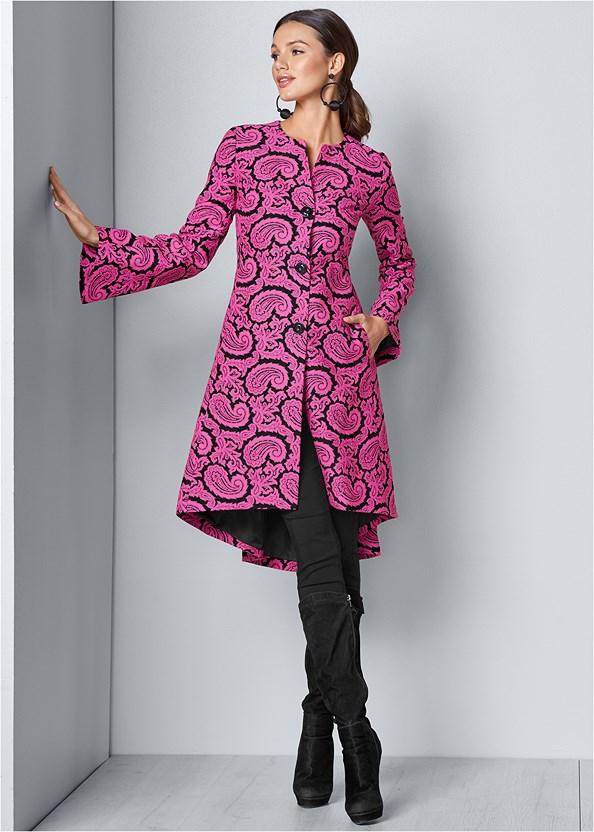Paisley Print Coat,Mid Rise Color Skinny Jeans,Tie Back Boots,Bauble Hoop Earrings,Stud Detail Crossbody