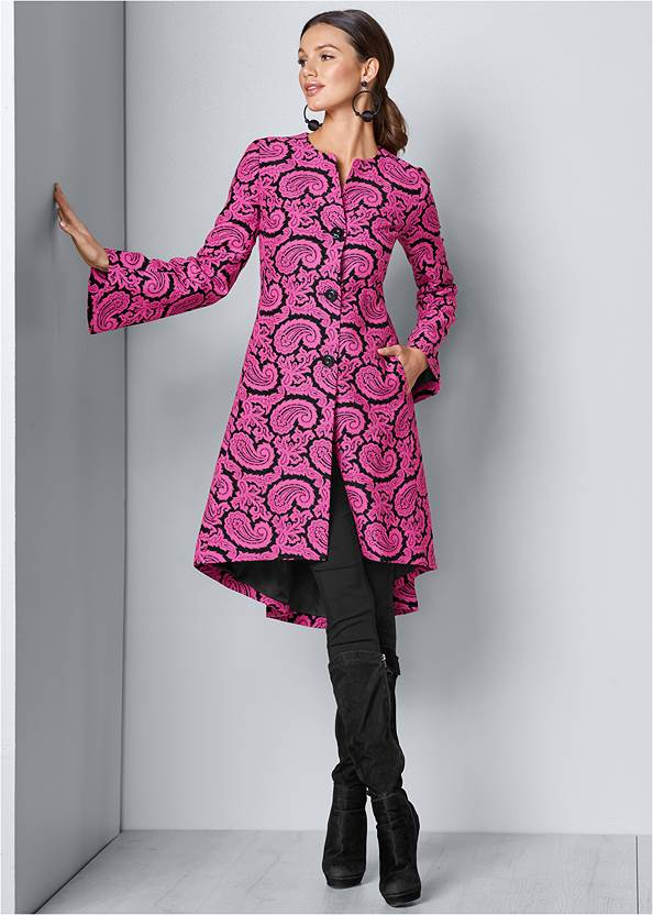 Paisley Print Coat,Mid Rise Color Skinny Jeans,Slouchy Mid-Calf Boot