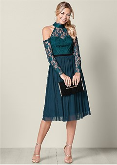 lace detail tulle dress