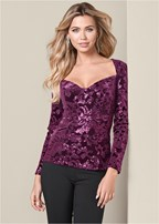 sequin detail velvet top