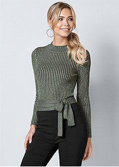 wrap metallic sweater