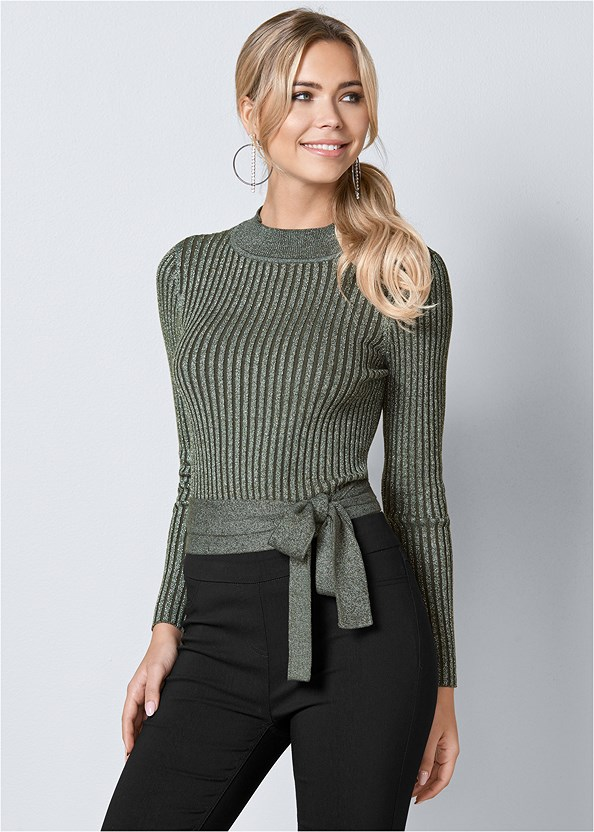 Wrap Metallic Sweater,Mid Rise Slimming Stretch Jeggings