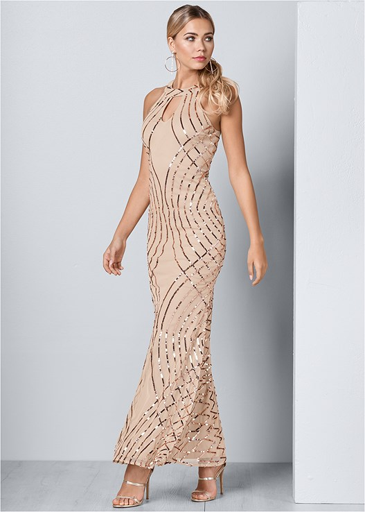 SEQUIN DETAIL LONG DRESS,HIGH HEEL STRAPPY SANDAL,RHINESTONE HOOP EARRINGS
