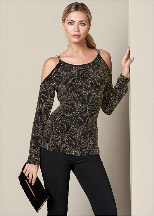 GLITTER COLD SHOULDER TOP,SLIMMING STRETCH JEGGINGS,LACE UP CAGE HEEL