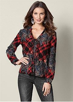 lace up print top