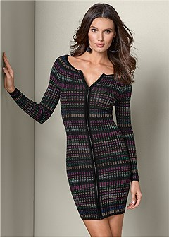 lurex ribbed sweater dress